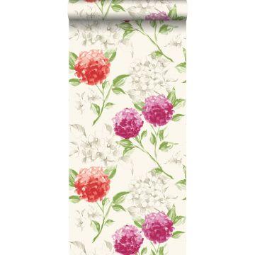 behang hortensia's roze en oranje
