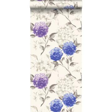 behang hortensia's diepblauw en paars