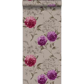 behang hortensia's taupe en aubergine paars
