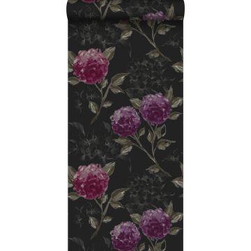 behang hortensia's zwart en aubergine paars