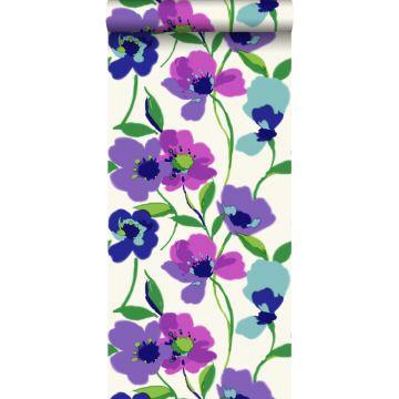 behang klaprozen paars en turquoise
