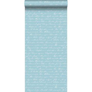 behang handgeschreven latijnse bloemennamen licht azuurblauw