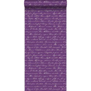 behang handgeschreven latijnse bloemennamen donker paars