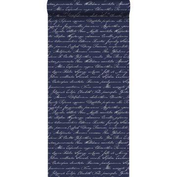 behang handgeschreven latijnse bloemennamen donkerblauw