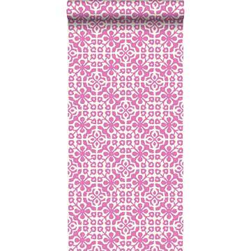 behang verweerde tegels roze