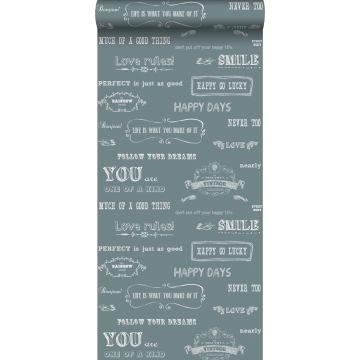 behang krijtbord teksten vintage blauw