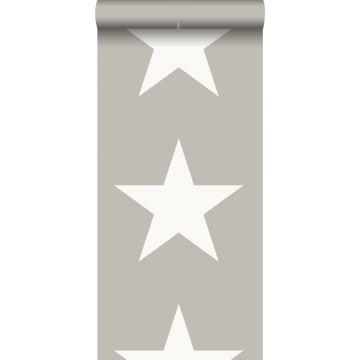 behang sterren warm grijs