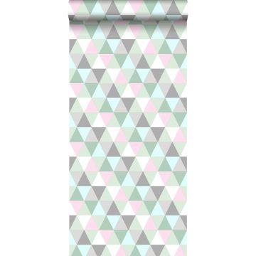behang driehoekjes roze, mintgroen en grijs