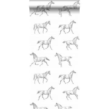 behang getekende paarden zwart op wit