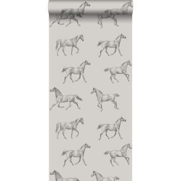 behang getekende paarden donker beige