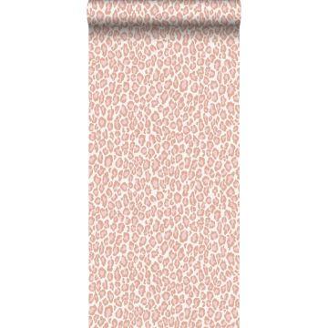 behang panterprint perzik roze