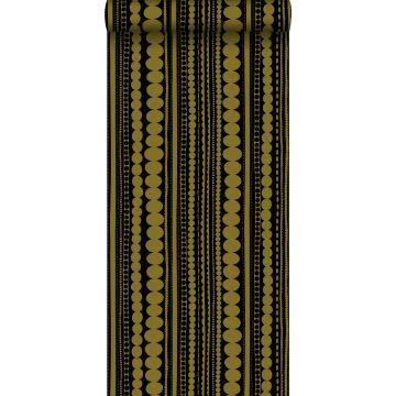 behang kralen zwart en glanzend goud