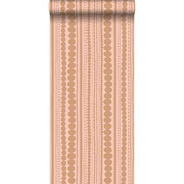 behang kralen perzik roze en glanzend koper bruin
