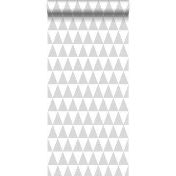 behang grafisch geometrische driehoeken licht warm grijs en mat wit