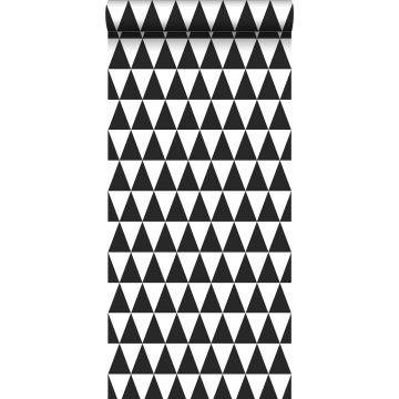 behang grafische driehoeken zwart en mat wit