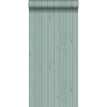 behang smalle sloophout planken saliegroen