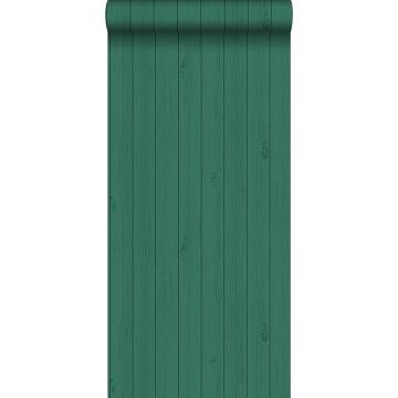 behang smalle sloophout planken tropisch junglegroen