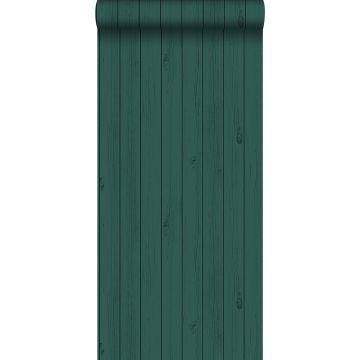 behang smalle sloophout planken smaragdgroen