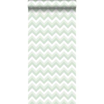 behang zigzag motief mintgroen en wit