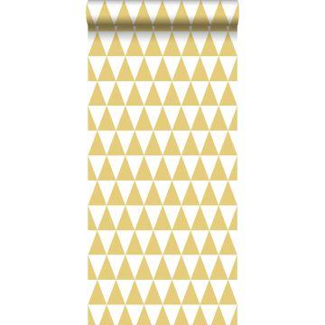 behang grafische driehoeken okergeel