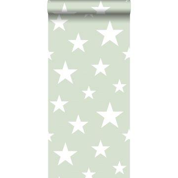 behang grote en kleine sterren mintgroen en wit