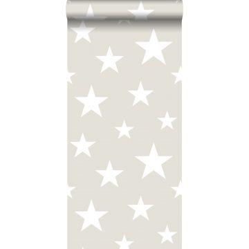 behang grote en kleine sterren lichtgrijs en wit