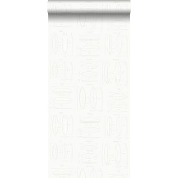 behang technische tekeningen van surfplanken wit en zilver