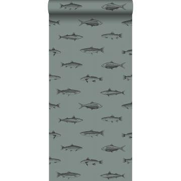 behang pentekening vissen vergrijsd groen en zwart