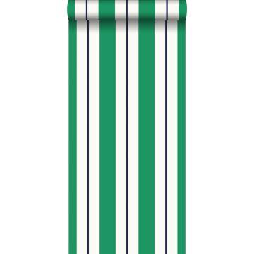 behang strepen groen en marine blauw