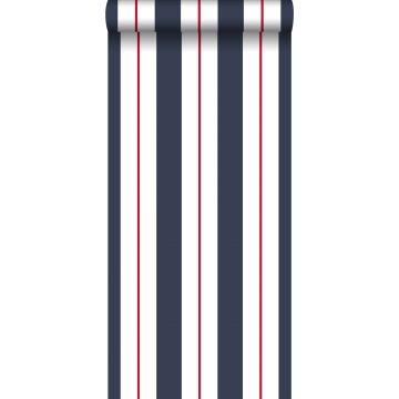 behang strepen blauw en rood