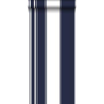 behang strepen marine blauw