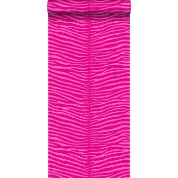 behang zebra's roze