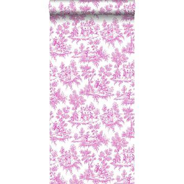 behang toile de jouy print roze