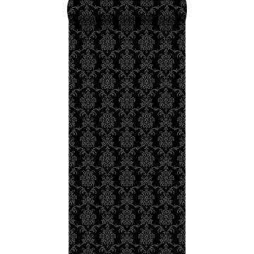 behang barokprint zwart