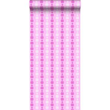 behang kant-motief zacht roze en wit
