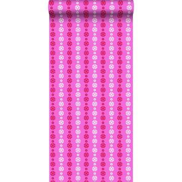 behang kant-motief roze en rood
