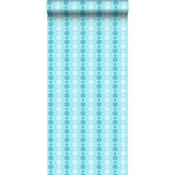 behang kant-motief turquoise en wit