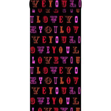 behang love you - quotes zwart en roze