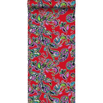 behang funky flowers en paisleys multicolor