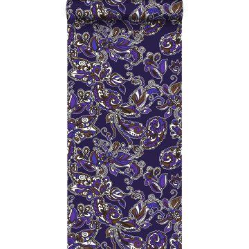 behang funky flowers en paisleys paars en bruin