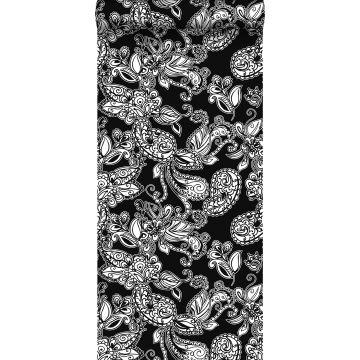 behang funky flowers en paisleys zwart en wit