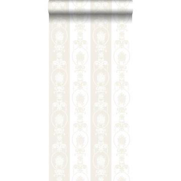 behang barokprint wit en zilver