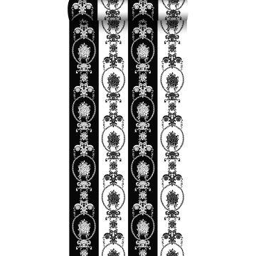 behang barokprint zwart en wit