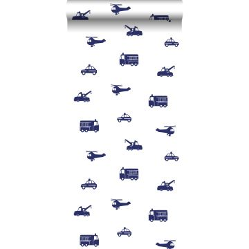 behang auto's blauw