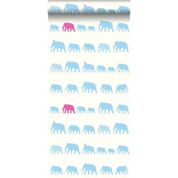 behang olifanten turquoise en roze