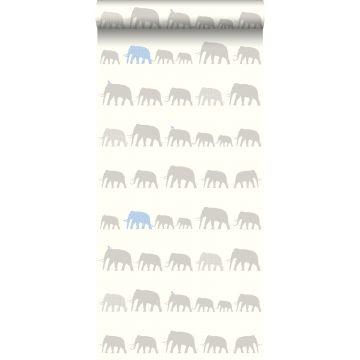behang olifanten zilver en lichtblauw