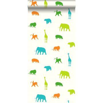 behang dieren limegroen en oranje