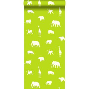 behang dieren limegroen