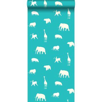 behang dieren turquoise