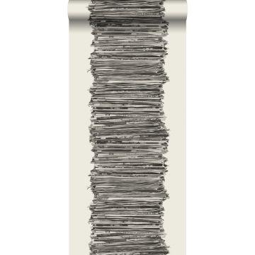 behang kranten zwart en wit